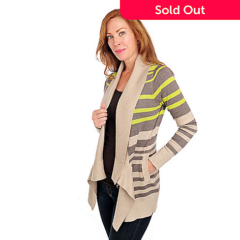 713-812 - Kate & Mallory Stretch Knit Fine Gauge Knit Long Sleeved Two-Pocket Cardigan Sweater