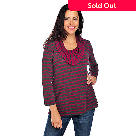 713-851 - OSO Casuals™ Stretch Knit 3/4 Sleeved Cowl Neck Striped Sweater