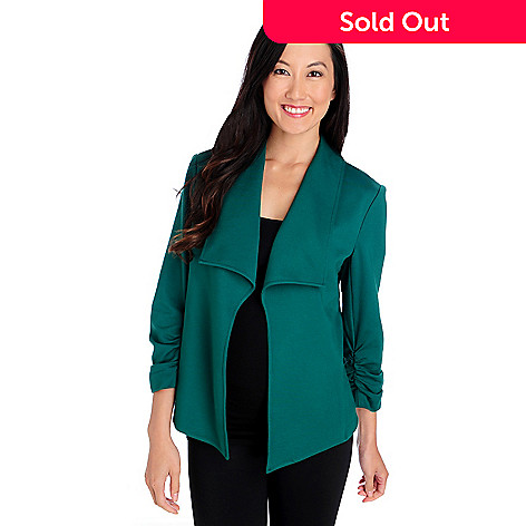 713-859 - Kate & Mallory® Ponte Knit Ruched Sleeve Open Front Jacket