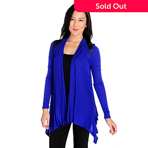 713-861 - Kate & Mallory® Stretch Knit Long Sleeved Faux Leather Combo Cascade Cardigan
