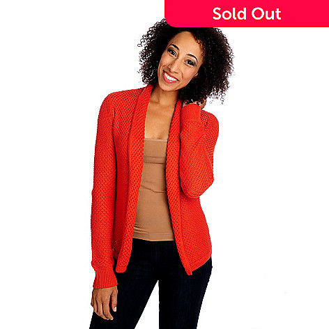 713-875 - OSO Casuals™ Textured Knit Long Sleeved One-Button Cardigan Sweater