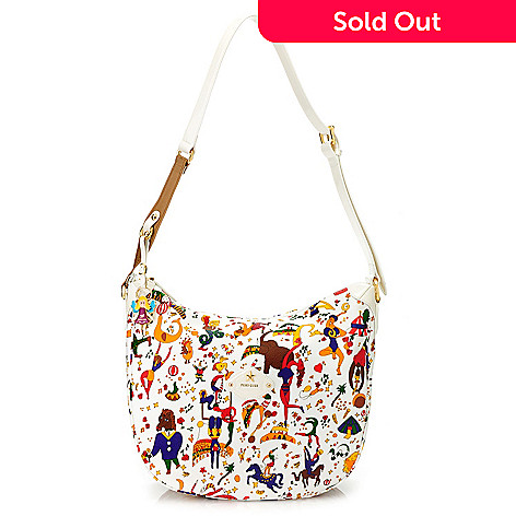 713-882 - Piero Guidi Soft Coated Canvas & Patent Magic Circus Collection Large Hobo Handbag