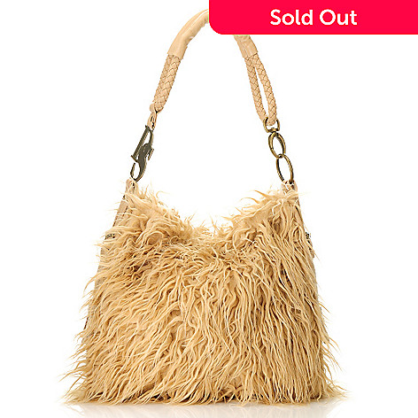 713-891 - Donna Salyers' Fabulous-Furs Faux Fur Woven Handle Satchel