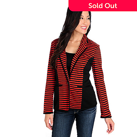 713-904 - Kate & Mallory® Ponte Knit One-Button Two-Pocket Striped Blazer