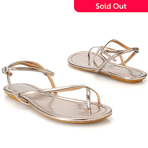 713-910 - Michael Antonio Metallic Ankle Strap Crisscross Sandals