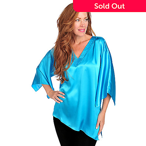 713-952 - Love, Carson by Carson Kressley Satin Kimono Sleeved Embellished Tunic Top