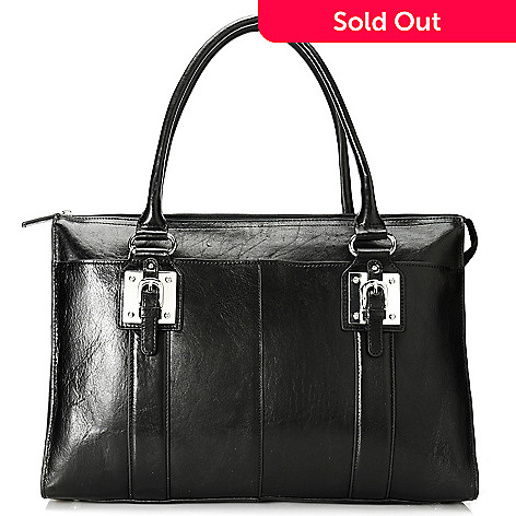 713-959 - Wilsons Leather Double Handle Buckle Detailed Executive Tote Bag w/ Shoulder Strap
