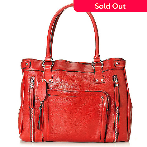 713-960 - Wilsons Leather Zipper Detailed Studded Tote Bag w/ Laptop Sleeve & Zippered Pouch