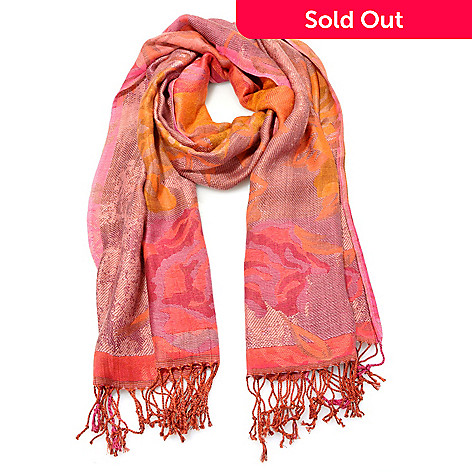 713-963 - Collection XIIX Woven Fringed Edge Rose Tapestry 78'' x 22'' Rectangle Scarf