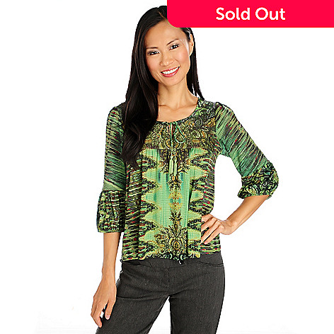 713-964 - One World Stretch Knit Blouson Sleeved Tie-Neck Peasant Top
