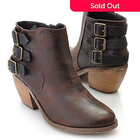 714-002 - MIA Buckle & Belt Detailed Side Zip Ankle Boots