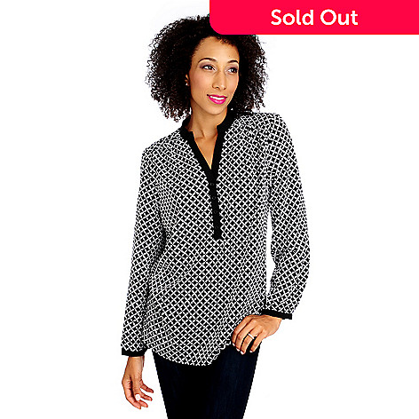 714-007 - Love, Carson by Carson Kressley Crepe Roll Tab Sleeved Y-Neck Blouse