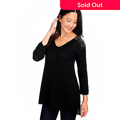 714-010 - Love, Carson by Carson Kressley Sweater Knit 3/4 Sleeved Embellished Top