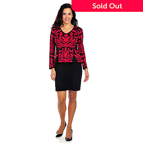 714-013 - Love, Carson by Carson Kressley Sweater Knit 3/4 Sleeved Peplum Dress