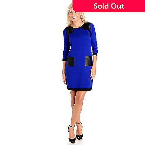 714-018 - Kate & Mallory® Sweater Knit 3/4 Sleeved Faux Leather Two-Pocket Dress