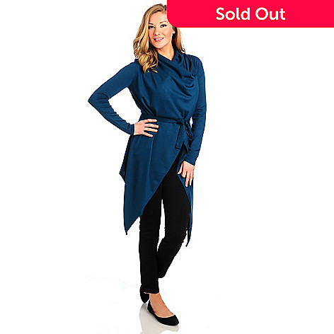 714-026 - Kate & Mallory® Fine Gauge Knit Long Sleeved Cascade Cardigan w/ Self-Tie Belt