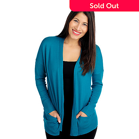 714-032 - Kate & Mallory Fine Gauge Knit Drop Shoulder Two-Pocket Open Cardigan