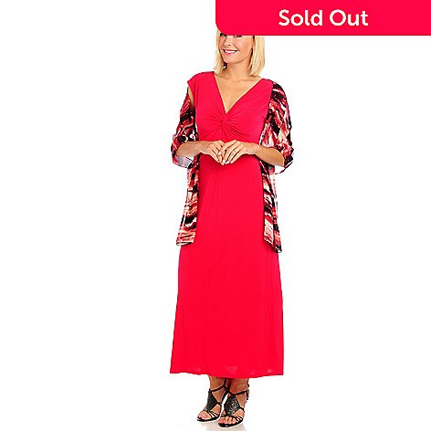 714-057 - Kate & Mallory® Stretch Knit Cap Sleeved Maxi Dress & Printed Scarf Set
