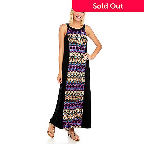 714-061 - Kate & Mallory Stretch Knit Sleeveless Printed Panel Maxi Dress