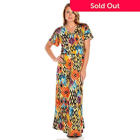 714-064 - Kate & Mallory® Jersey Knit Dolman Sleeved V-Neck Blouson Maxi Dress