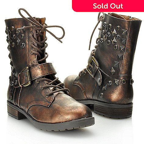 714-077 - MIA Studded Lace-up Buckle Detailed Side Zip Boots