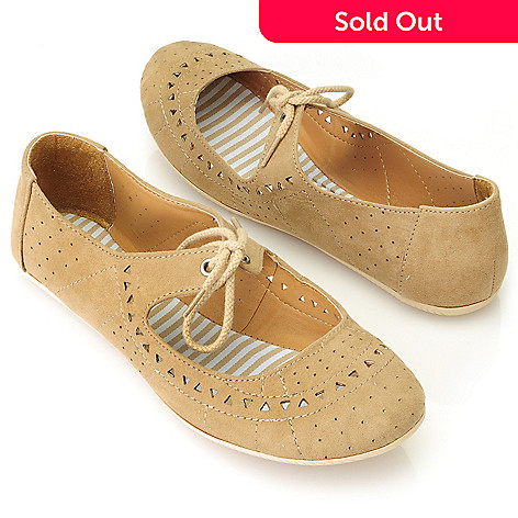 714-085 - MIA Perforated & Laser Cut Lace-up Ballet Flats