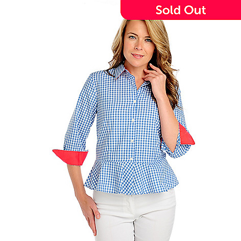 714-138 - Kate & Mallory® Gingham Contrast Cuffed Button-down Peplum Shirt