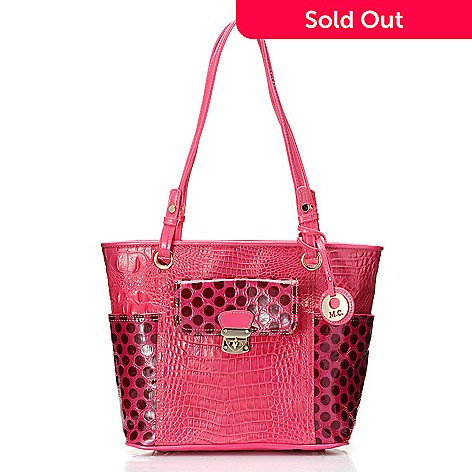 714-151 - Madi Claire ''Juliet'' Croco Embossed & Polka Dot Designed Leather Tote Bag