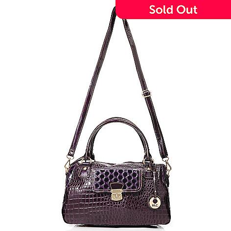 714-152 - Madi Claire Croco Embossed Leather & Polka Dot Design Zip Top Satchel