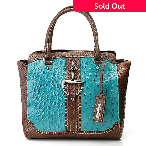 714-159 - Madi Claire Ostrich Embossed Leather & Snake Print Zip Top Satchel w/ Strap