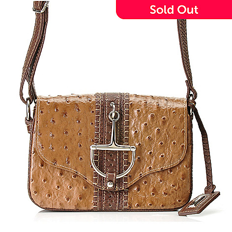714-160 - Madi Claire Ostrich Embossed Leather & Snake Print Flap Over Cross Body Bag
