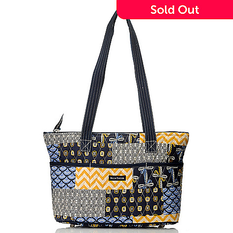 714-178 - Bella Taylor Quilted Cotton Pattern Print Zip Top Shoulder Bag