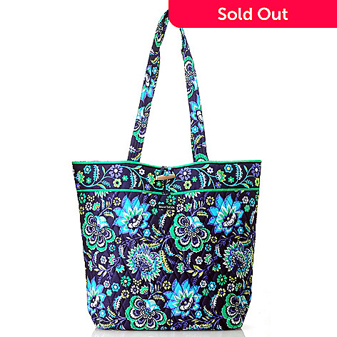 714-179 - Bella Taylor Quilted Cotton Pattern Print Tote Bag w/ Toggle Closure