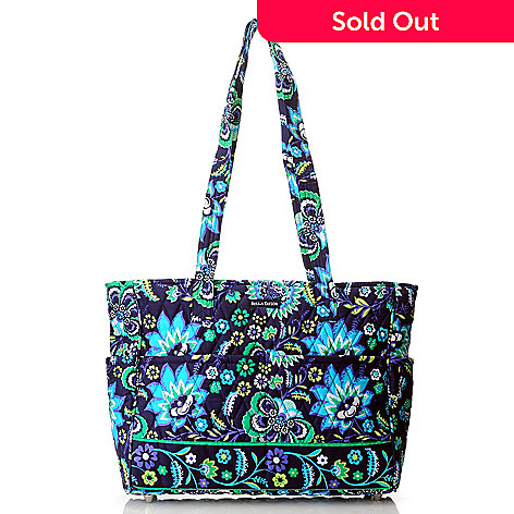 714-180 - Bella Taylor Quilted Cotton Pattern Print Zip Top East/West Shopper Handbag