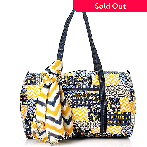 714-182 - Bella Taylor Quilted Cotton Pattern Print Zip Top Duffle Bag w/ Scarf