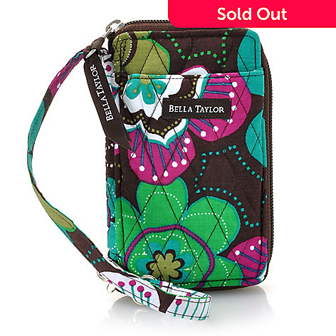 714-183 - Bella Taylor Quilted Cotton Zip Around Cell Phone Wristlet