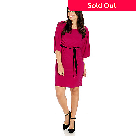 714-188 - aDRESSing WOMAN Stretch Knit Kimono Sleeved Dress w/ Tie Belt