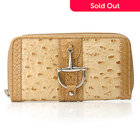 714-202 - Madi Claire Ostrich Embossed Leather Perforated & Buckle Detailed Zip Around Wallet