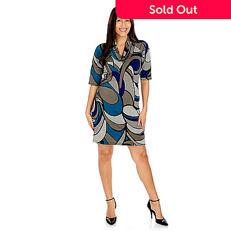 714-204 - aDRESSing WOMAN Stretch Knit Elbow Sleeved Printed Cowl Neck Tunic Dress