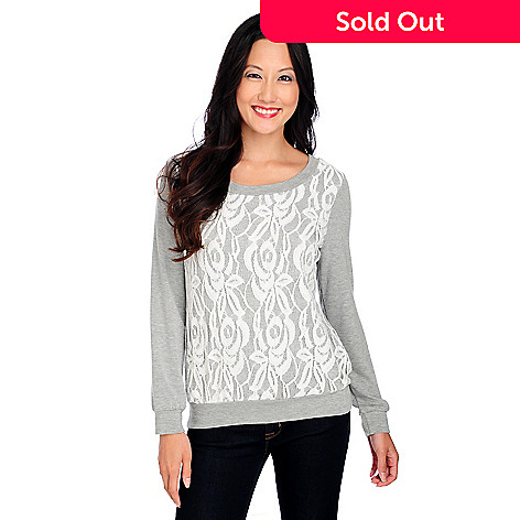 714-219 - OSO Casuals French Terry Long Sleeved Lace Front Top