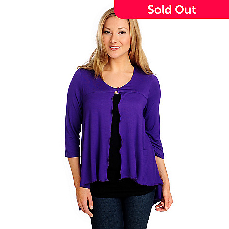 714-226 - Kate & Mallory® Stretch Knit 3/4 Sleeved One-Button Hi-Lo Cardigan