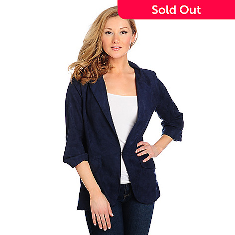 714-233 - Kate & Mallory® Ultra Suede Cuffed Sleeve Hook Closure Blazer