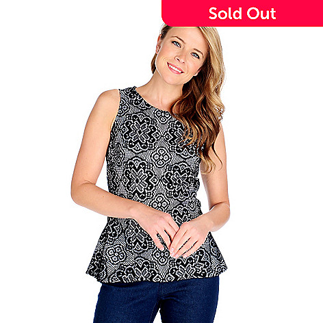 714-244 - Kate & Mallory® Fully Lined Lace Sleeveless Zip Back Peplum Top