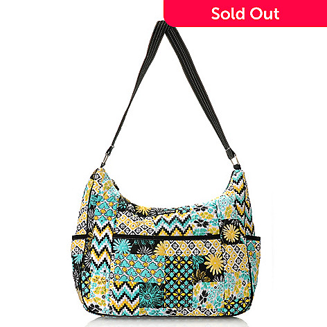 714-253 - Bella Taylor Quilted Cotton Pattern Print Zip Top Hobo Handbag