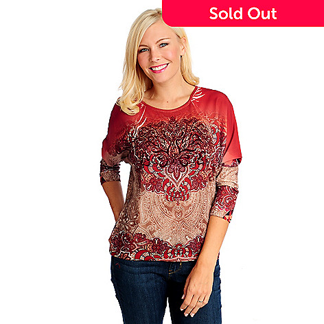 714-260 - One World Knit Woven Combo Dolman Sleeved Velvet Appliqué Top