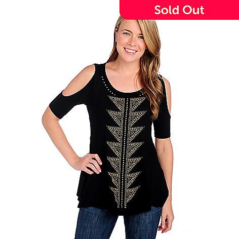 714-322 - Glitterscape® Stretch Knit Elbow Sleeved Cold Shoulder Embellished Top