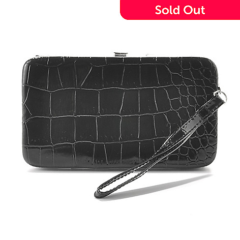 714-328 - Mundi Crocodile Embossed Open Front Large Phone Case Wallet w/ Wrist Strap