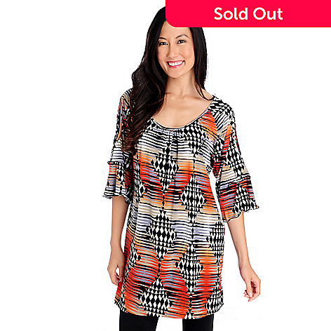 714-337 - Kate & Mallory® Stretch Knit 3/4 Sleeved Cold Shoulder Printed Tunic