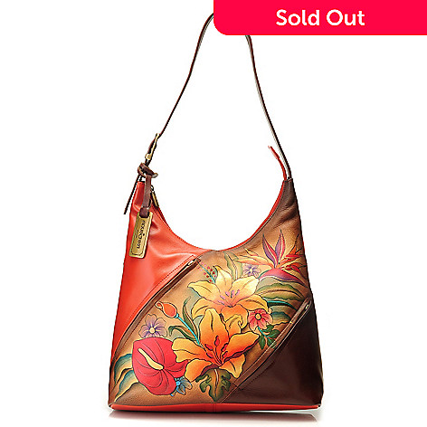 714-343 - Anuschka Hand-Painted Leather Zip Top Diagonal Design Hobo Handbag