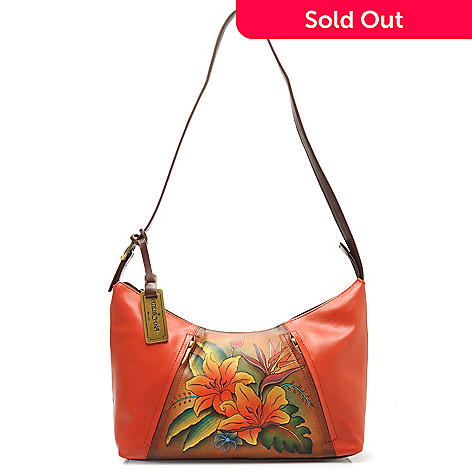 714-346 - Anuschka Hand-Painted Leather OrganizerZip Top East-West Hobo Handbag